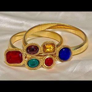 Vintage NYC ACCESSOCRAFT Colorburst Art Glass Belt